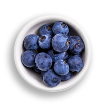 Nutritional image of blueberries in the hot cereal bar table