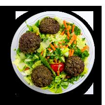 Nutritional image of falafel salad in chef-designed salads table