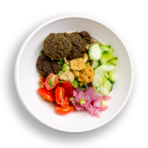 Nutritional image of baked falafel with quinoa in the grain bowls table