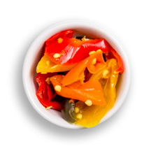 Nutritional image of fiery pickled sweet peppers in the build your own salad table