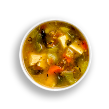 Nutritional image of boston shrimp bisque/beef mushroom barley soup in the daily soups table