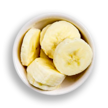 Nutritional image of banana slices in the hot cereal bar table