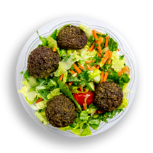 Nutritional image of falafel salad in chef-designed salads table
