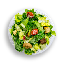 Nutritional image of kale caesar salad in chef-designed salads table