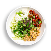 Nutritional image of mediterranean with quinoa in the grain bowls table
