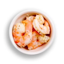Nutritional image of poached shrimp in the build your own salad table